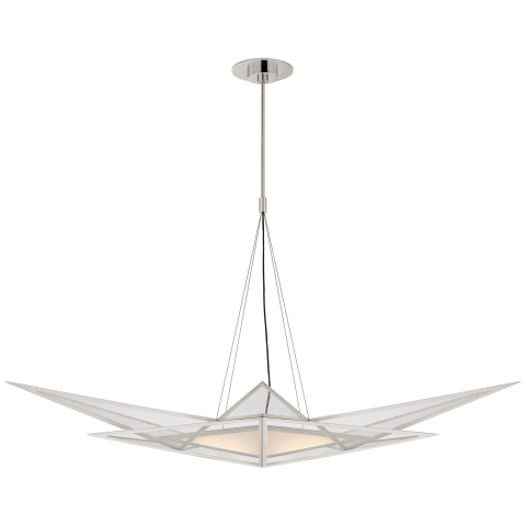 Ori Medium Linear Chandelier in Polished Nickel with Clear Lined Glass