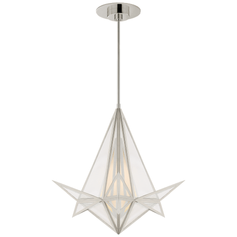 Ori Small Chandelier in Polished Nickel with Clear Lined Glass