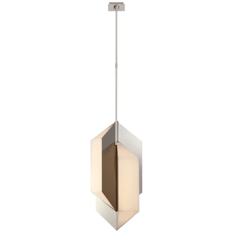 Ophelion Medium Pendant in Polished Nickel with Alabaster
