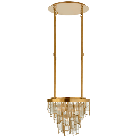 Ardent Small Waterfall Chandelier in Antique-Burnished Brass with Fractured Glass Trim