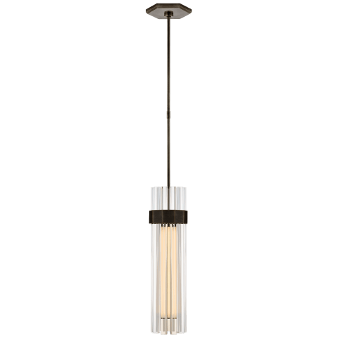 Fascio Medium Pendant in Hand-Rubbed Antique Brass with Crystal