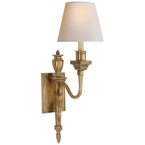 Winslow Single Sconce in Hand-Rubbed Antique Brass with Natural Paper Shade