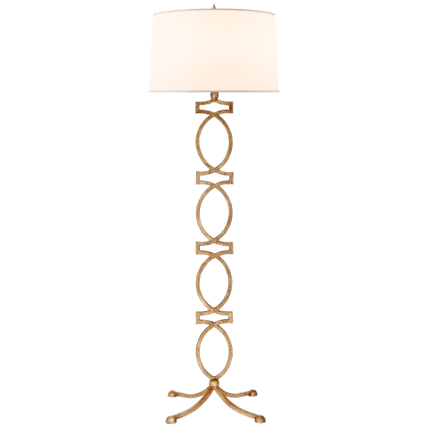 Brittany Floor Lamp in Venetian Gold with Silk Shade