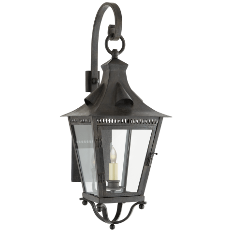 Orleans Small Bracketed Lantern in French Rust with Clear Glass