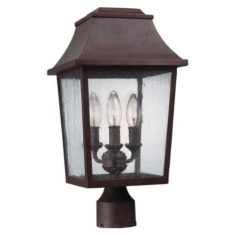 Estes 3 - Light Outdoor Post Lantern Patina Copper