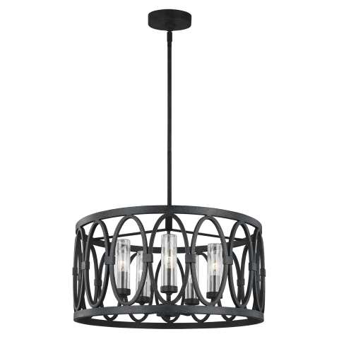 Patrice 5 - Light Chandelier Dark Weathered Zinc