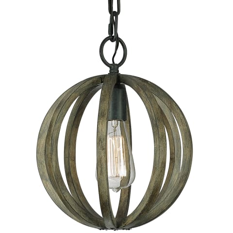 Allier 1 - Light Mini Pendant Weathered Oak Wood / Antique Forged Iron