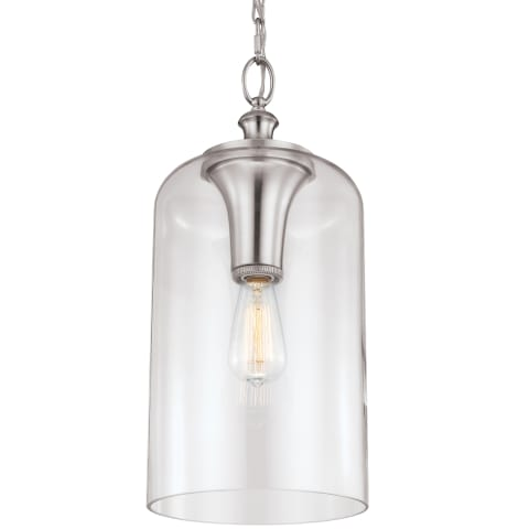 Hounslow Clear Glass Pendant Brushed Steel