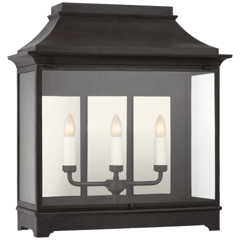 Rosedale Wide 3/4 Wall Lantern in French Rust with Clear Glass