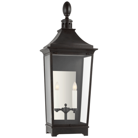 Rosedale Classic Medium Tall 3/4 Wall Lantern in French Rust with Clear Glass
