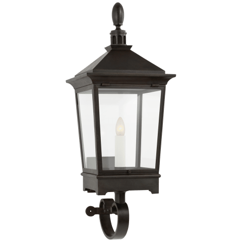 Rosedale Classic Small Bracketed Wall Lantern in French Rust with Clear Glass
