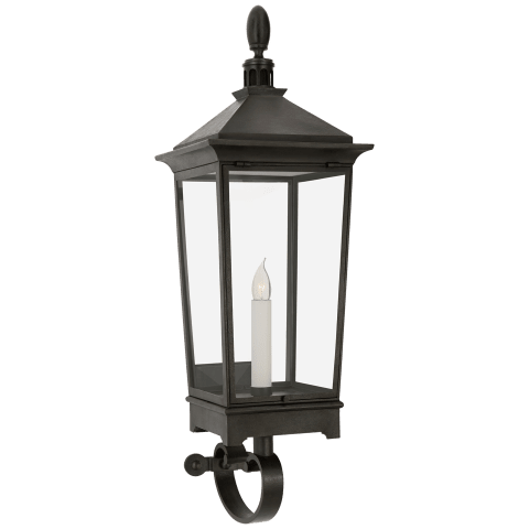Rosedale Classic Small Tall Bracketed Wall Lantern in French Rust with Clear Glass
