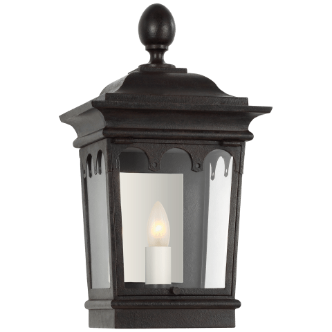 Rosedale Grand Petite 3/4 Wall Lantern in French Rust with Clear Glass