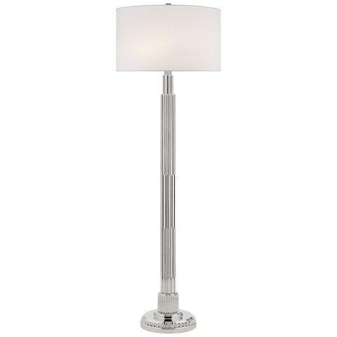 Briggs Floor Lamp in Polished Nickel with Silk Shade