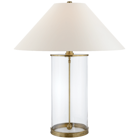 Modern Table Lamp in Natural Brass with White Paper Shade