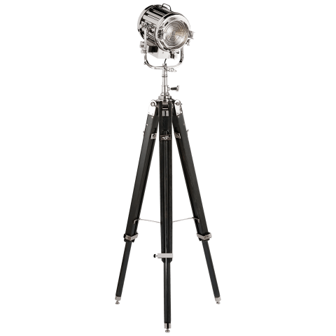 Montauk Search Light Floor Lamp in Ebony and Polished Nickel