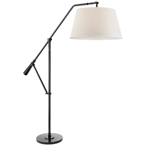 Nolan Loft Floor Lamp in Black Nickel with Percale Shade