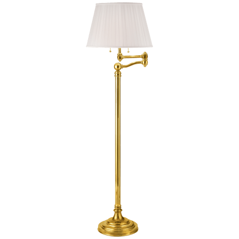 Sargent Swing Arm Floor Lamp in Natural Brass with Silk Shade
