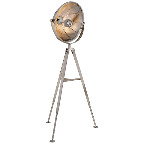 Ames Extra Large Pivoting Reflector Floor Light in Polished Nickel