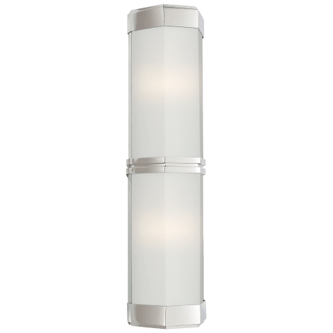 Berling Double Wall Sconce in Polished Nickel with Frosted Glass