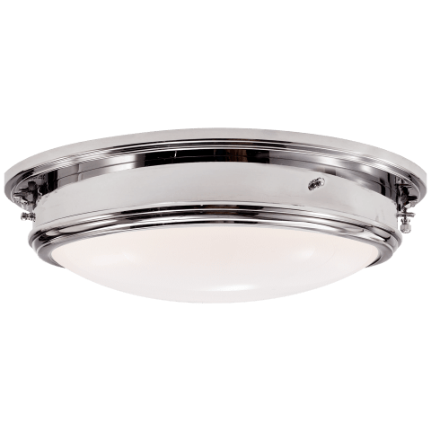 Marine Porthole Large Flush Mount in Polished Nickel with White Glass