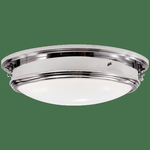 Marine Porthole Large Flush Mount in Polished Nickel with White Glass