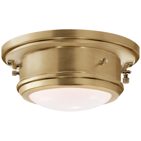 Marine Porthole Small Flush Mount in Polished Nickel with White Glass