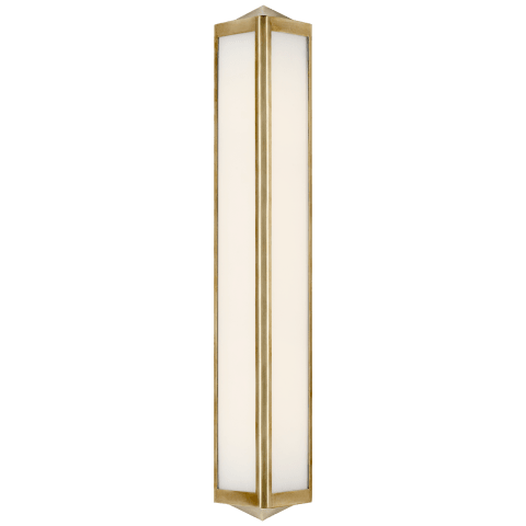 Geneva Medium Sconce in Natural Brass with White Glass