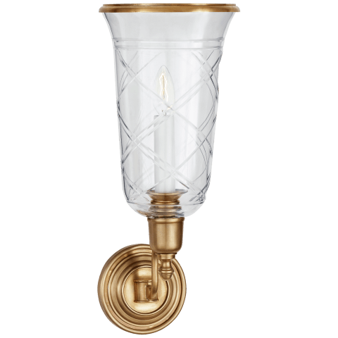 Cambridge Single Sconce in Natural Brass with Clear Glass