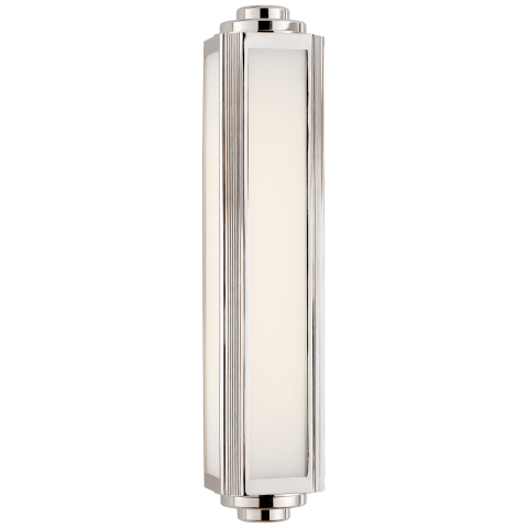 Keating Medium Sconce in Polished Nickel with White Glass