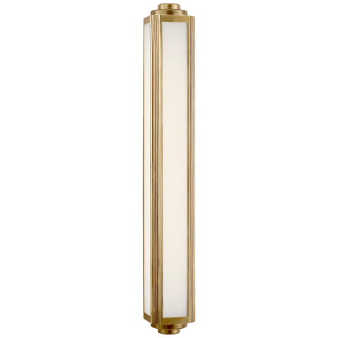 Keating Large Sconce in Natural Brass with White Glass