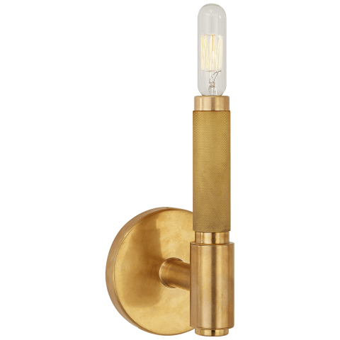 Barrett Small Single Knurled Sconce in Natural Brass