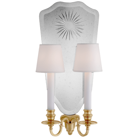 Clarissa Double Sconce in Natural Brass and Cut Mirror with Silk Hardback Shades