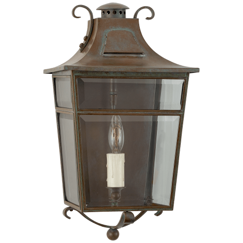 Carrington Small Wall Lantern in Weathered Verdigris with Clear Glass