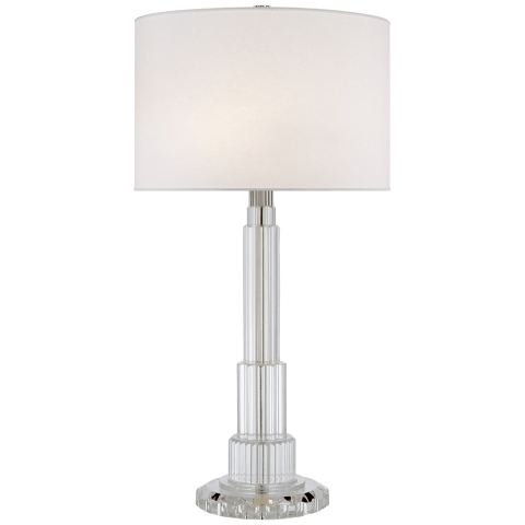 Briggs Table Lamp in Crystal with Silk Shade