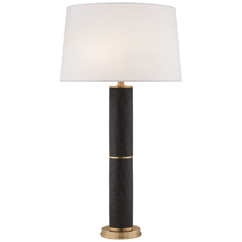 Upper Fifth Table Lamp in Black Faux Croc and Natural Brass with Silk Shade