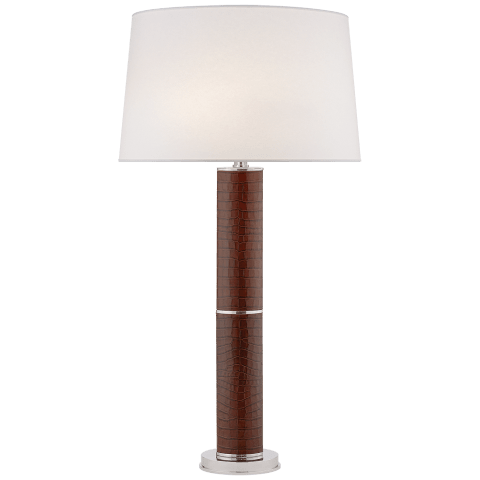 Upper Fifth Table Lamp in Brown Croc with Silk Shade