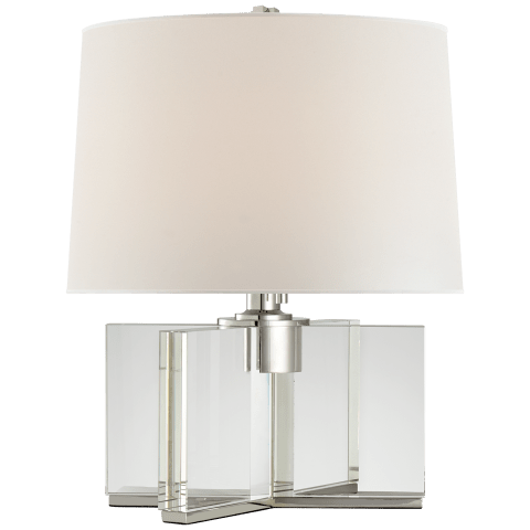 Felix Accent Lamp in Crystal and Polished Nickel with Percale Shade