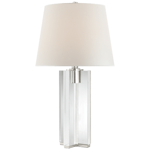 Felix Table Lamp in Crystal and Polished Nickel with Percale Shade