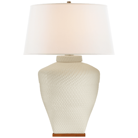 Isla Large Table Lamp in White Leather Ceramic with Linen Shade