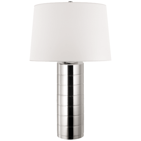 Montgomery Table Lamp in Polished Nickel with White Paper Shade