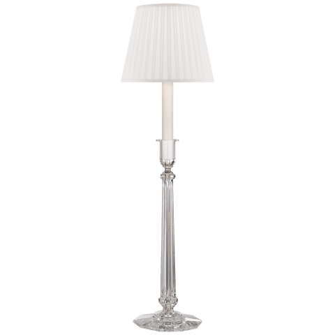 Grace Buffet Lamp in Crystal with Pleated Silk Shade