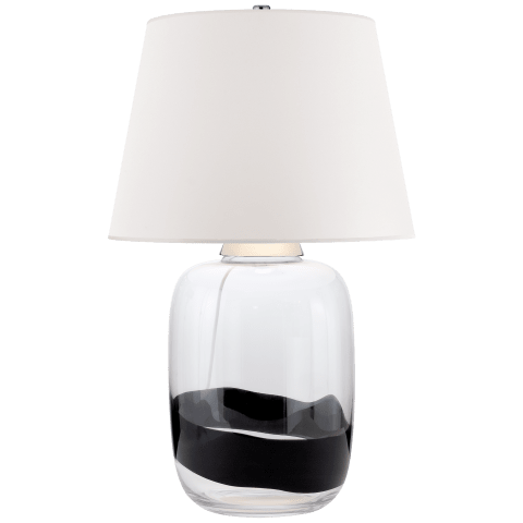 Adela Large Table Lamp in Clear and Black Glass with White Paper Shade