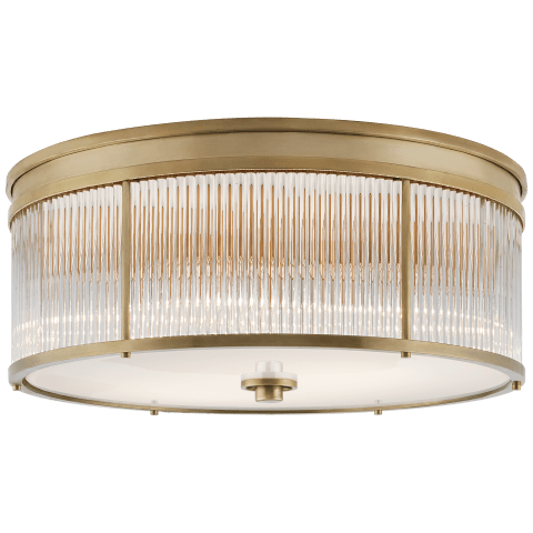 Allen Large Round Flush Mount in Natural Brass and Glass Rods with White Glass