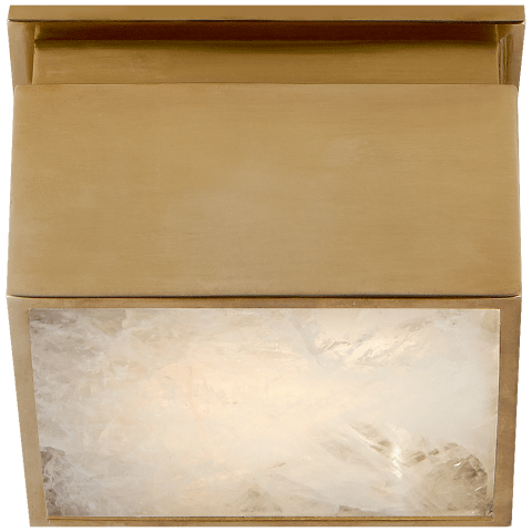 "Ellis 5"" Solitaire Flush Mount in Natural Brass and Natural Quartz"