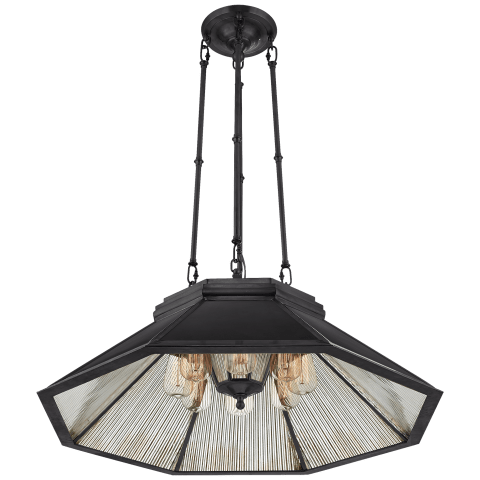 Rivington Medium Eight-Paneled Chandelier in Bronze with Antiqued Ribbed Mirror