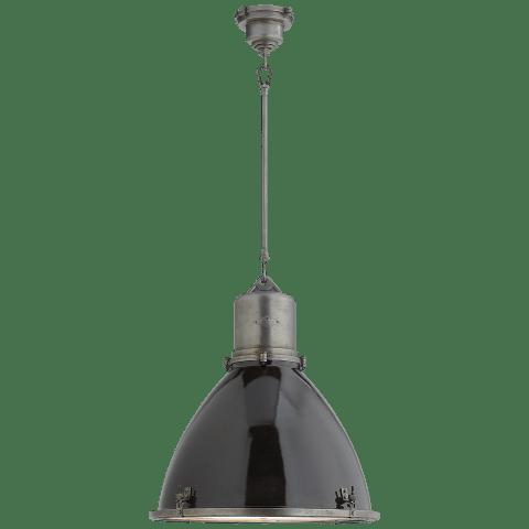 Fulton Large Pendant in Industrial Steel with Black Enamel Shade