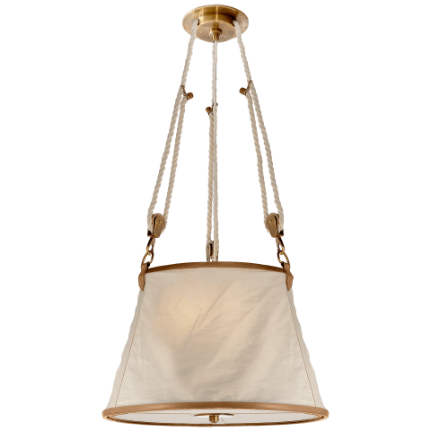 Miramar Medium Hanging Shade in Natural Brass and Saddle Leather Trim with Linen Shade