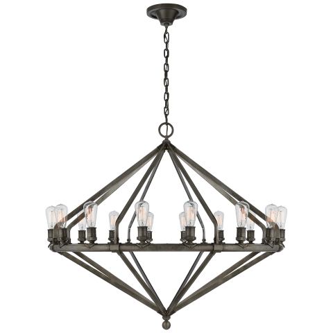 Archer Extra Large Chandelier in Industrial Steel
