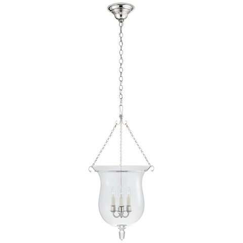 Julianne Small Smoke Bell Lantern in Polished Nickel with Clear Glass